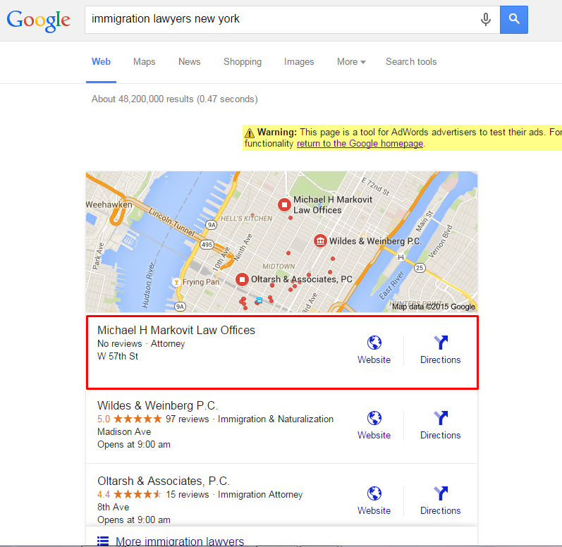 "#1 for keyword ""immigration lawyer nyc"""