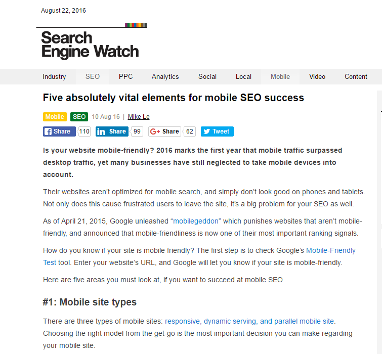 Five Absolutely Vital Elements for Mobile SEO Success