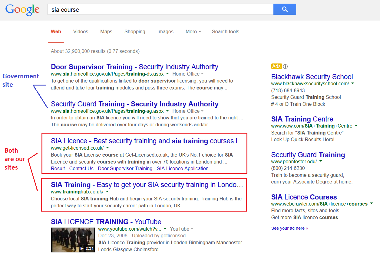 Get Licensed ranks #1 for keyword Sia course