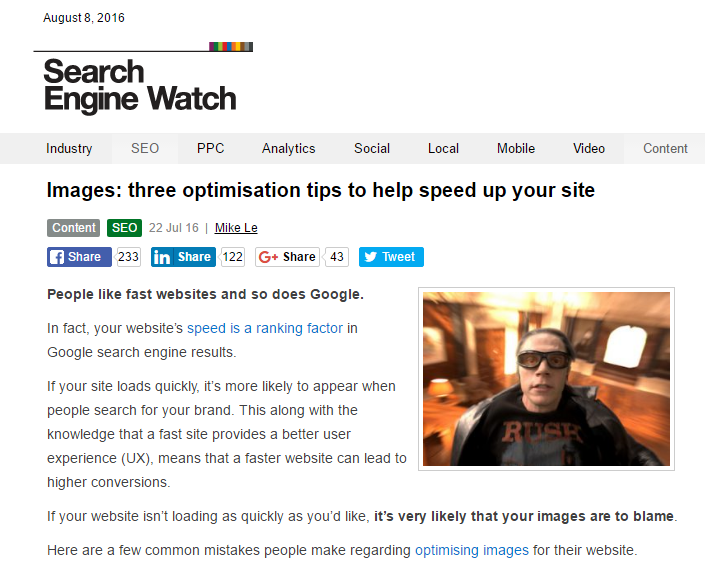 Images - three optimisation tips to help speed up your site - Mike Le CB/I