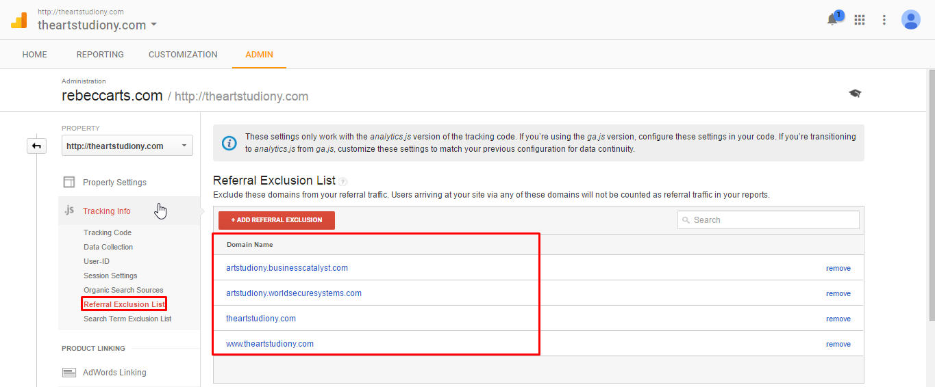 Referral Exclusion list in Google Analytics