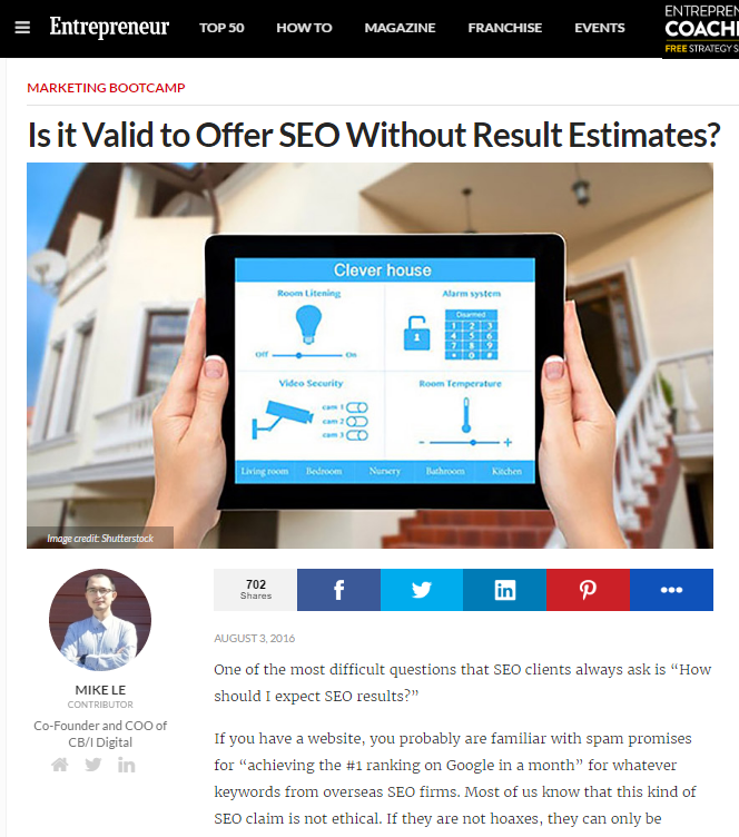 Is it valid to offer SEO without Result Estimate?