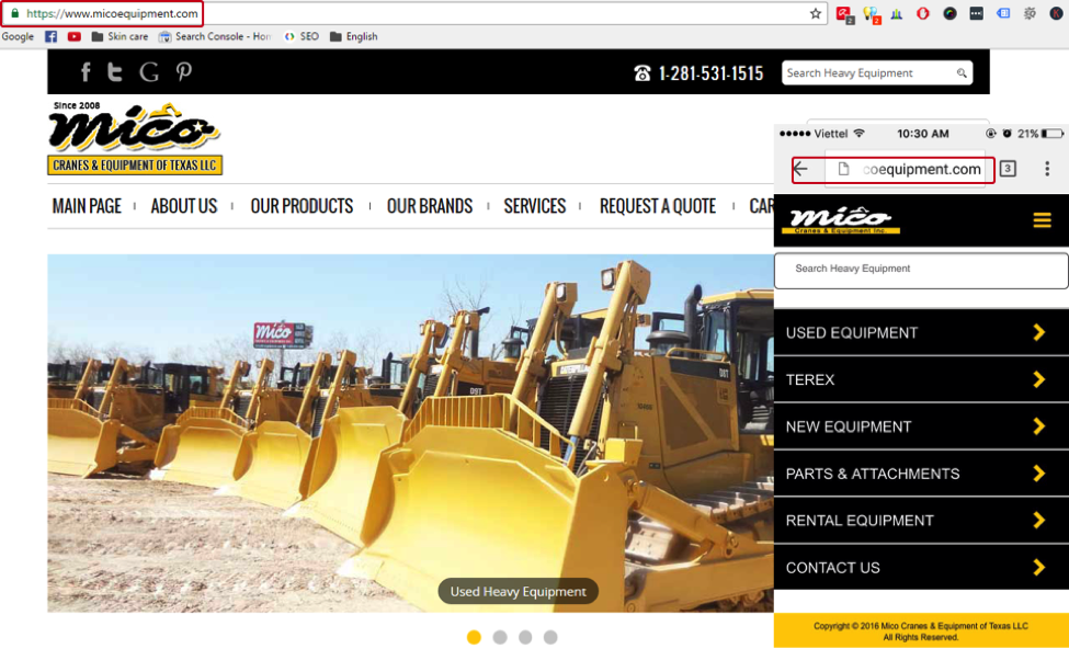 Mico Equipment - Dynamic website example