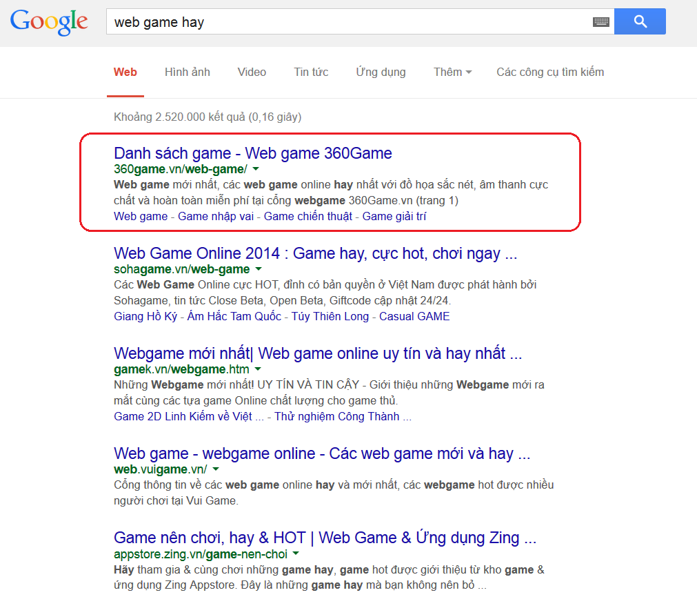 http://360game.vn/ ranks #1 for keyword web game hay