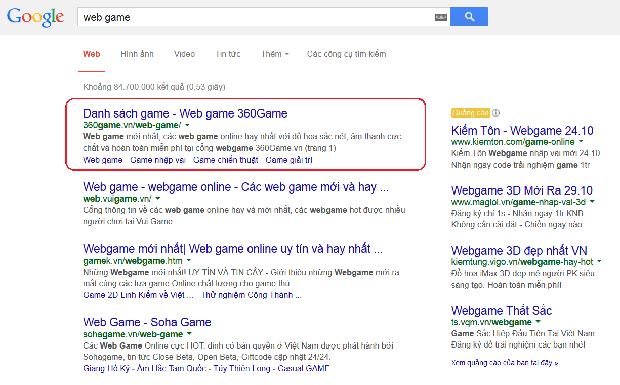 "360game.vn ranks #1 for keyword ""web game"""